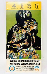 Original 1968 Super Bowl II Ticket Stub Raiders Packers NFL AFL Championship M21