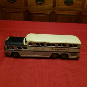 "Vintage Tin Greyhound Bus Scenicruiser Friction Toy Stone Japan 11"" Long"