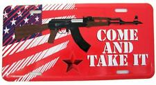 COME AND TAKE IT AMERICAN FLAG AK47 MACHINE GUN LICENSE PLATE metal usa 6X12 IN