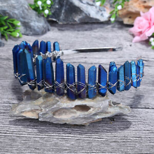 Blue Handmade Quartz Crystal  Fairy Aura Crown Tiara Headband healing