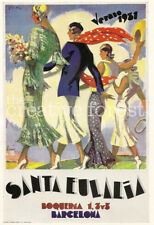 BARCELONA, SPAIN 1931 Vintage Art Deco Travel Poster CANVAS ART PRINT 24x33 in.