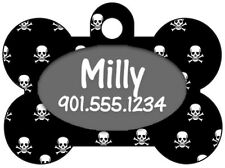 Custom Skull Pet Id Dog Tag Personalized w/ Your Pet's Name & Number
