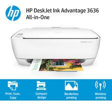 BRAND NEW HP DESKJET 3636 ALL IN ONE WIRELESS INKJET PRINTER AIR PRINT WHITE Q1