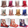 Ladies Floral Bandana Square Head Neck Scarf Wrap Satin Silk 90cm Vintage Shawl