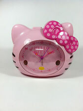 Pink Alarm Clock Hello Kitty Polka Dot Bow Design Battery Powered By Sanrio