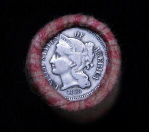 Crimped Shotgun Roll w/ 1868 Three Cent Nickel & 1905 Indian Head Cent