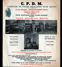 "LEVALLOIS-PERRET (92) PIECES DETACHEES MOTO ""C.P.D.M."" tract Tarifs en 1952"