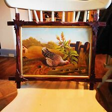Vintage 2 Sided Oil Painting CHICKEN HEN w/ DUCKLINGS in Pond-Hand Carved Frame