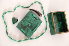 boîte à bijoux vintage en malachite, collier compris, origine Congo