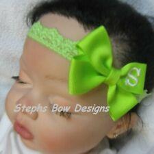 Bright Apple Monogram Dainty Hair Bow Headband Personalized 4 Preemie 2 Toddler