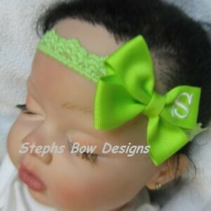 Bright Apple Monogram Dainty Hair Bow Headband Personalized 4 Preemie 2 Toddler