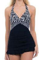 Gottex Profile Swimdress Swimsuit Size 8 One Piece Underwire Marble Black White