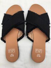 New F&F Womens Flat Slip On Black Fringe Cross Sandels Shoes UK 6