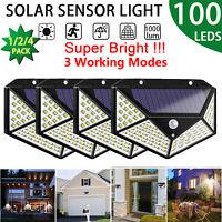 100 LED Solar Power Motion Sensor Wall Light Outdoor Garden Path Lamp Waterproof