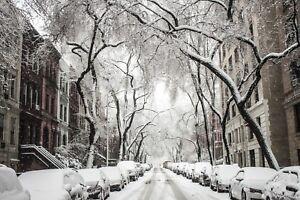 WINTER SNOW SCENE STREET FESTIVE CANVAS PICTURE PRINT WALL ART UNFRAMED #C16