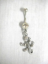 NEW CUTE GECKO LIZARD DANGLING CHARM ON 14G CLEAR CZ BELLY BUTTON RING BELLY BAR