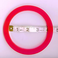 COPPIA (2) di forma circolare SACCHETTO Manici Per Knitting & Cucito (Rosa Fluorescente)