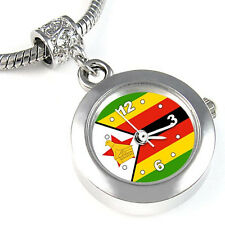 Zimbabwe Flag Silver European Spacer Charm Bead Quartz Watch For Bracelet EBA416