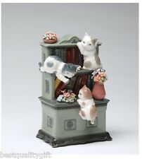 "COLLECT. PORCELAIN 3 CATS,BOOK SHELF CATCH ME IF YOU CAN ""Fur Elise"" MUSIC BOX"