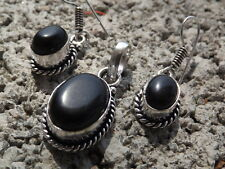 Handmade ethnic silver plated earrings and pendant with black onyx cabochons