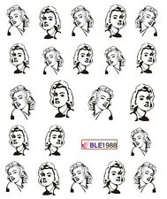Black Marilyn Monroe Water Transfers Nail Art Stickers Decals UV Tips Decoration