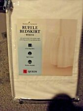 "Home Classics Ruffle Bedskirt Queen Size White 15"" Drop New"