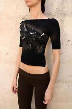 Liu Jo a maniche corte Tee Nero Beige CASUALS T-shirt girocollo brillavano S Piccolo