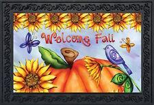 """Welcome Fall Pumpkin Doormat Autumn Primitive Indoor Outdoor 18"""" x 30"""""""