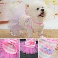 Pet Dog Cat Clothes Warm Flannel PUPPY Chihuahua Dress Princess Dog Mesh Skirt