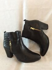 Tamaris Black Ankle Leather Boots Size 38