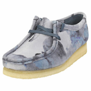 Clarks Originals Wallabee Womens Blue Camouflage Wallabee Shoes - 9.5 US