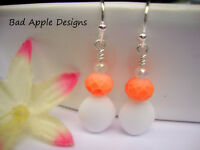 Pink Coral Glass Opaque White Puffed Triangle Silver Dangle Earrings