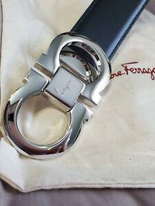 NEW SALVATORE FERRAGAMO Belt Men's Reversible Leather Gancini Buckle 95cm 32/34