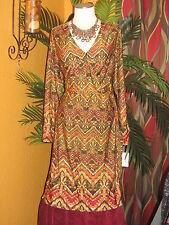 NY COLLECTION NWT 2X $70 womens dress earth tones tie disco wrap around