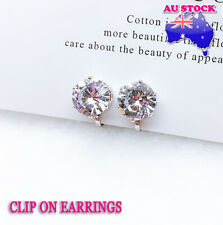 Wholesale 18K White Gold Plated Clear CZ Crystal Clip On Earrings
