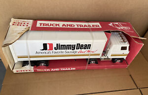 Vintage Jimmy Dean Ertl Toys USA GMC 18 Wheeler Semi Truck & Delivery Trailer