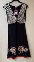 Joe Browns Sexy Knot Summer Dress Size 8 Black with Red Pom Poms to Hem BNWT