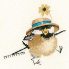 Heritage Crafts Gardener Chick Chickadees Cross Stitch Kit  by Valerie Pfeiffer