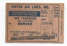1947 United Airlines Ticket from San Francisco to Denver