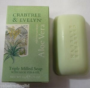 ALOE VERA CRABTREE & EVELYN GREEN TRIPLE MILLED SOAP BAR X 5 BATHE CLEANING NEW