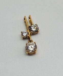 Vermeil Gold Sterling Silver Asymmetrical Modern CZ Pendant 925