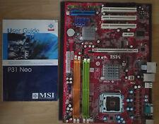 MSI P31 Neo Motherboard ohne Funktionstest orginal Schachtel und Handbuch gebrau