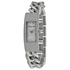 MICHEAL KORS HAYDEN SILVER PAVE CRYSTAL,CURB CHAIN LINKS BRACELET WATCH-MK3305