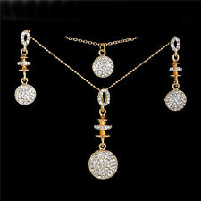 Elegant 18k Gold Plated Austrian Crystal Stud Earrings Necklace Jewelry Set