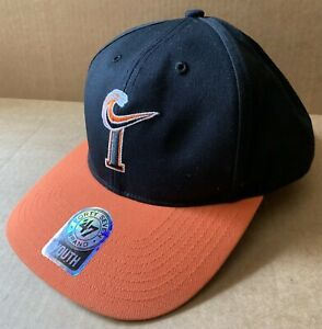 NORFOLK TIDES BASEBALL CAP HAT, YOUTH SIZE, 47 BRAND, ORANGE BLACK, NORFOLK, VA