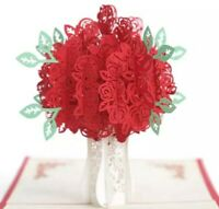 3D Pop Up Roses Flowers Bouquet Any Occasion Premium Cardstock Greeting Card