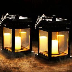 2pcs Solar Lantern Light Outdoor Garden Patio Candle Lantern Flickering Lamps