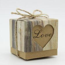 50pcs Wedding Favor Box Bonbonniere Love Rustic Kraft Candy Boxes w/Jute Burlap