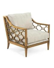 """29.5"""" W Arm Chair Hand Crafted Hardwood Frame Inset Honeycomb Steel Detail"""