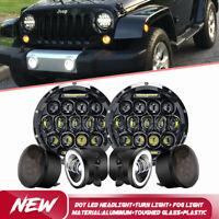 """DOT 7"""" LED Headlight + Turn Signal + Fog Light Combo Kit For Jeep Wrangler 07-17"""